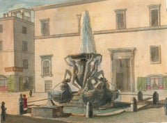 Roman Fountains - Original Lithographs and Watercolors - Mid 19th Century