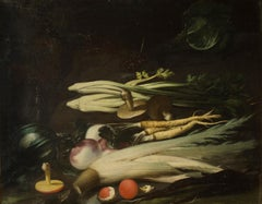 Still Lives with Vegetables - Oil Paintings Att. to S. del Tintore - Late 1600