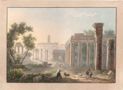Ancient Ruins - Watercolor by an Italian School Artist of 19th Century