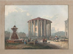 Temple of Hercules Victor - Watercolor by an Italian School Artist of 1800