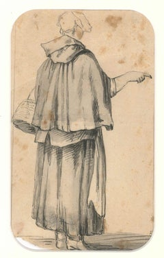 Figure of Breton Woman - Drawing by J. P. Verdussen - End of 18th Century