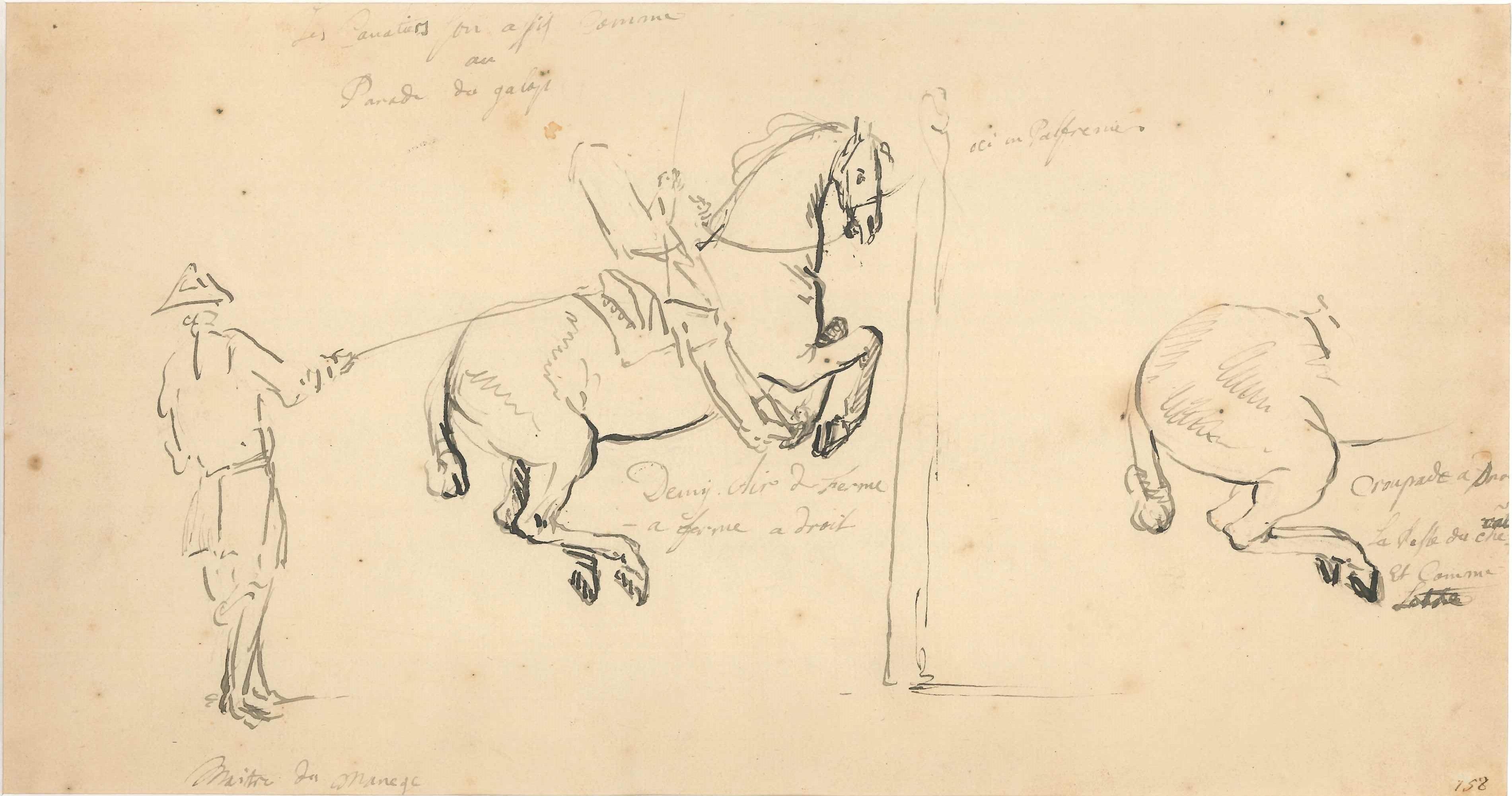 Riding School - Original China Ink Drawing by Jan Pieter Verdussen - Mid 1700