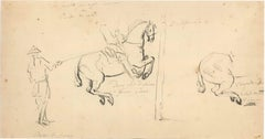Riding School - Original China Ink Drawing by Jan Pieter Verdussen - Mid 1700