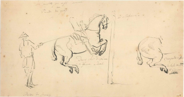 Riding School is an ink original drawing on watermarked and wire rod paper realized in the middle of XVIII century by Jan Peter Verdussen, with autograph notes.  In very good conditions, except for visible minor stains above all on the higher