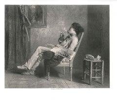 A Painter Smoking - Original Lithograph by J. B. V. Loutrel - Mid 19th Century