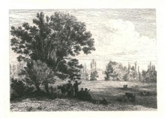 Landscape - Original Etching and Drypoint by J.-F. Chaigneau - 1863