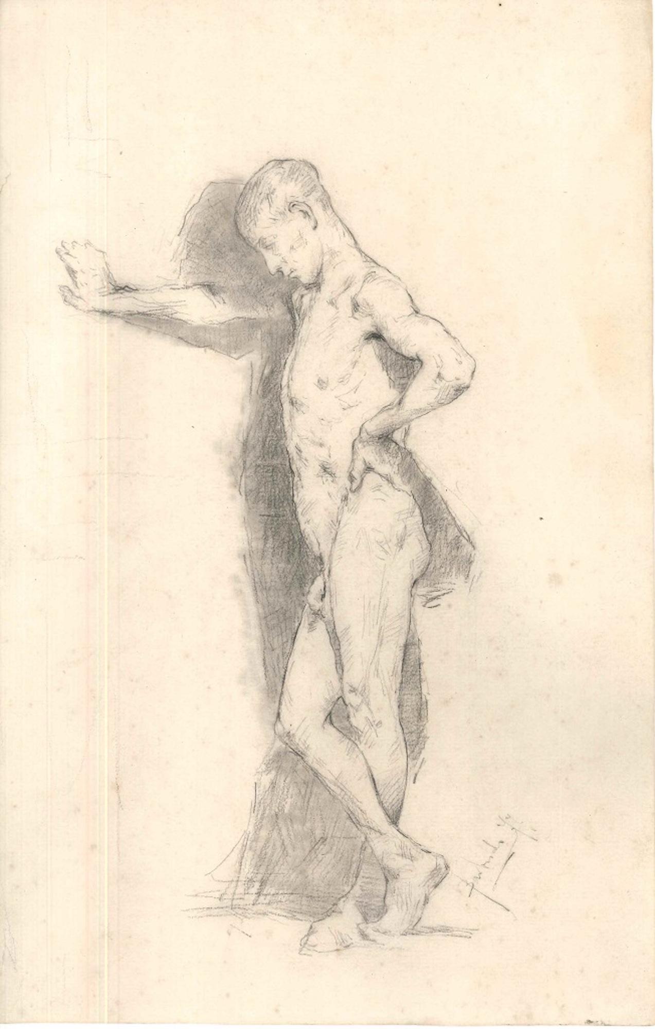 Posing Male Model  - Original Drawing 19th Century