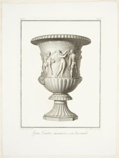 Gran Cratere Marmoreo con Baccanale - Original Etching by P. Fontana