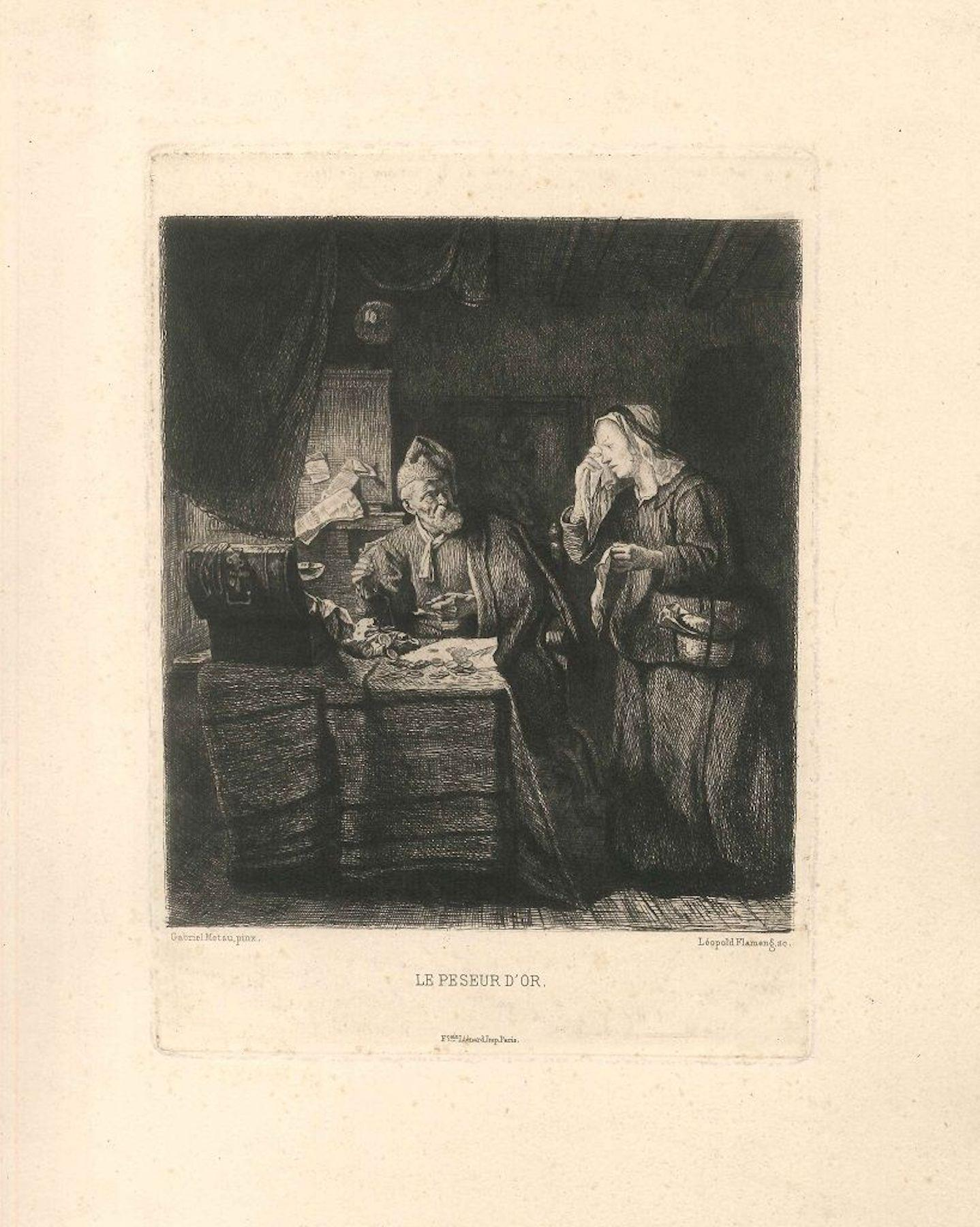Le Peseur d'Or - Original Etching by Léopold Flameng - 1873