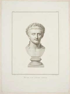 Bust of Tiberius - Original Etching by P. Fontana After A. Tofanelli