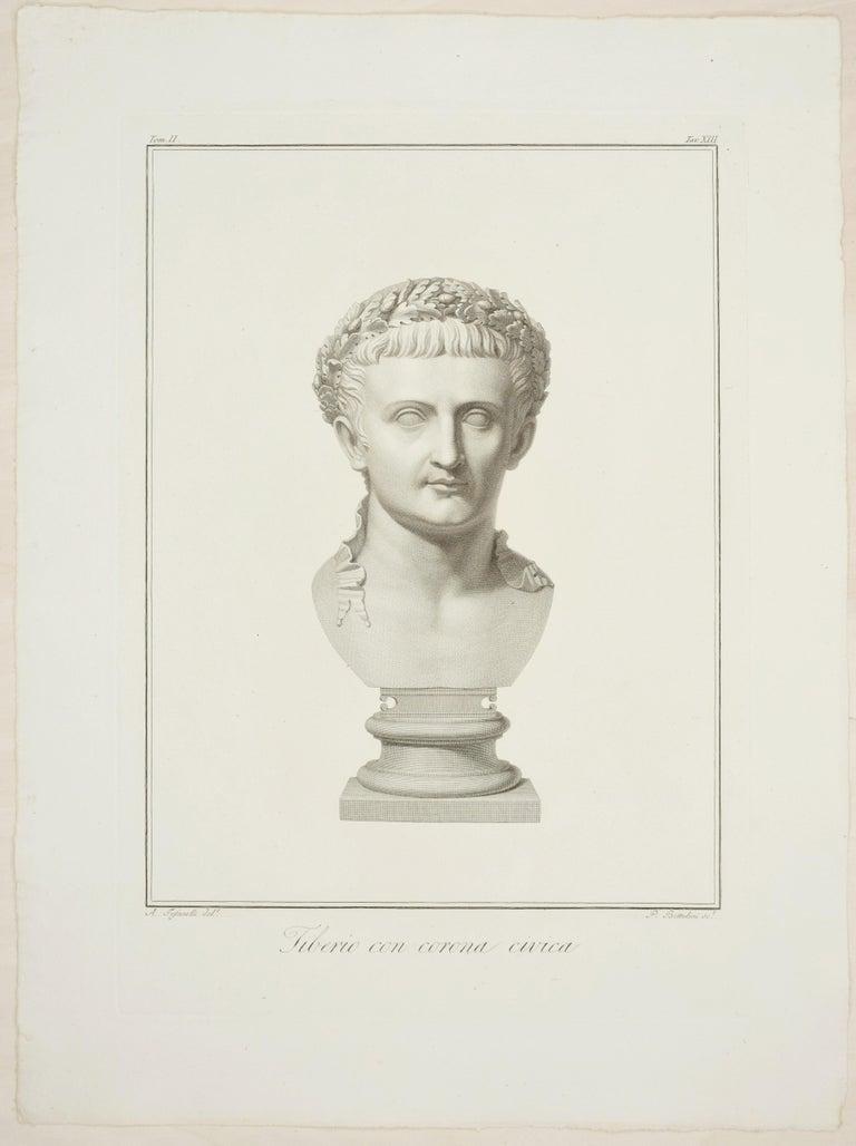 Pietro Fontana Portrait Print - Bust of Tiberius - Original Etching by P. Fontana After A. Tofanelli