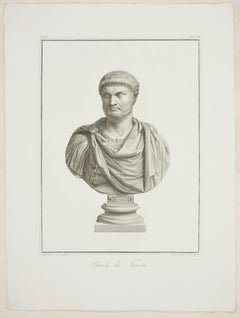 Bust of Nero - Original Etching by P. Fontana After B. Nocchi - 1821