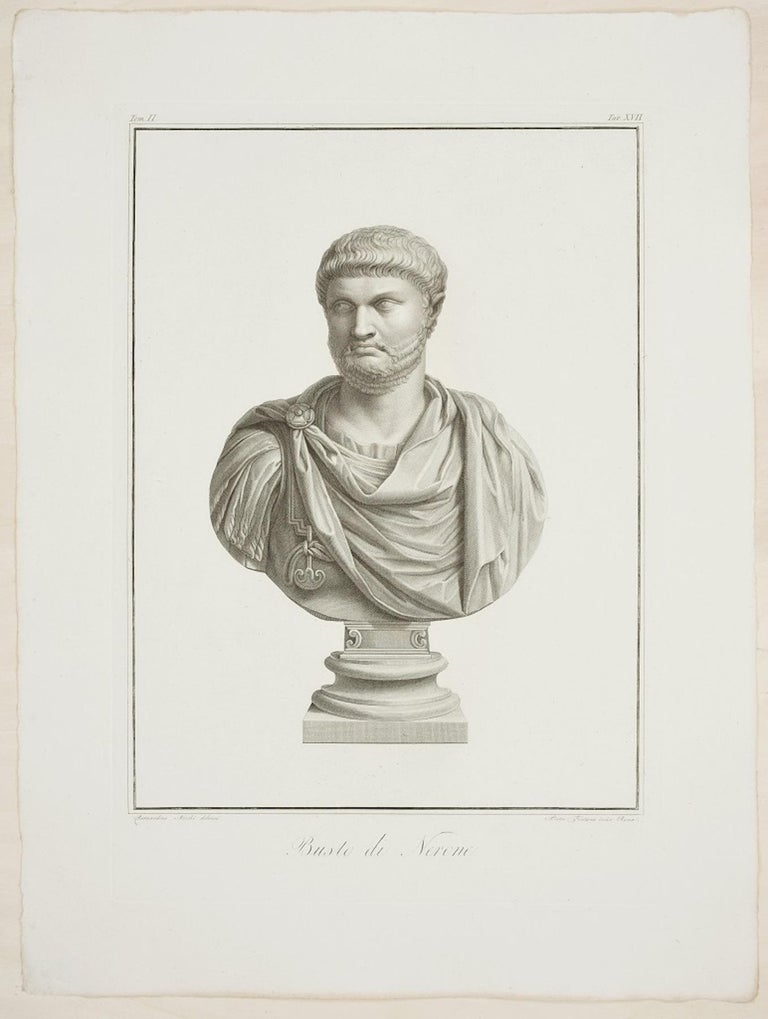 Pietro Fontana Figurative Print - Bust of Nero - Original Etching by P. Fontana After B. Nocchi - 1821