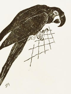 The Parrot - Original Woodcut by Unknown French Artist