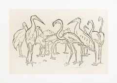 Storks and Flamingos - Original Woodcut by Unknown French Artist