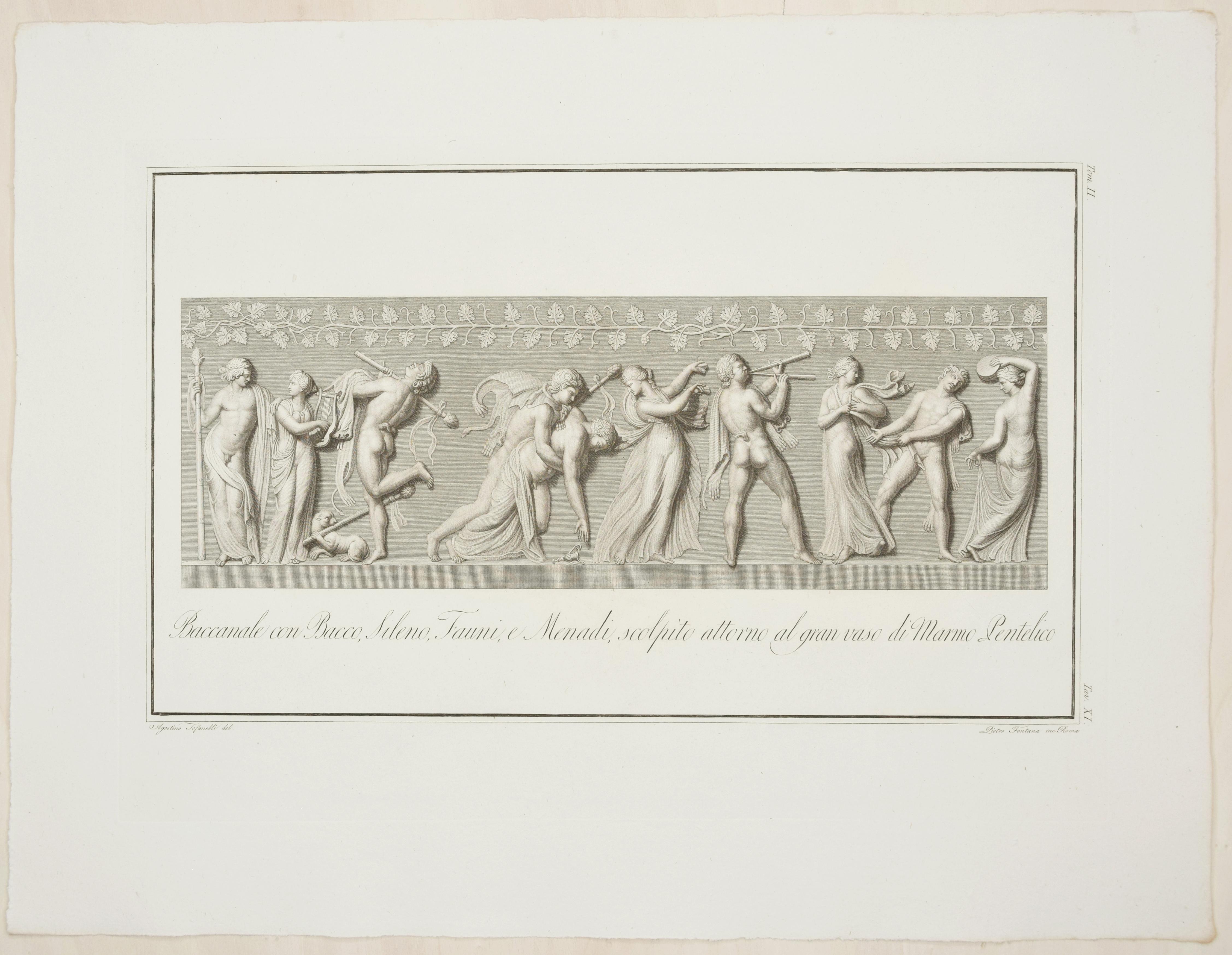 Bacchanalia - Original Etching by P. Fontana After A. Tofanelli - 1821