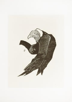 The Vulture - Original Woodcut by Unknown French Artist Early 1900