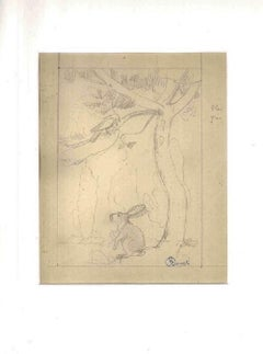 The Hare and the Bird - Original Pencil Drawing by Ernest Rouart - Early 1900