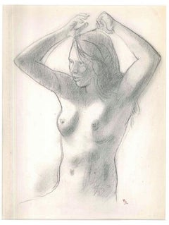 Nude - Original Pencil Drawing by Ernest Rouart - Early 1900