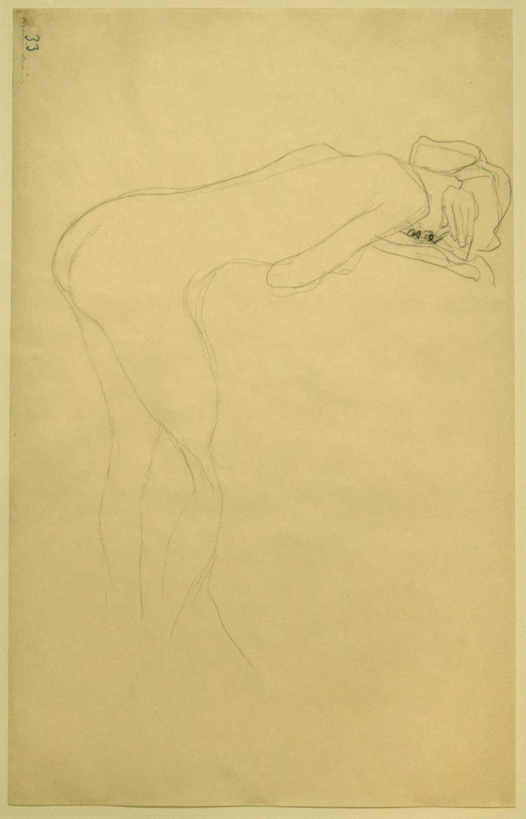 Nude of Woman Reclined On the Back of a Chair on the Right - Original Drawing - Art by Gustav Klimt