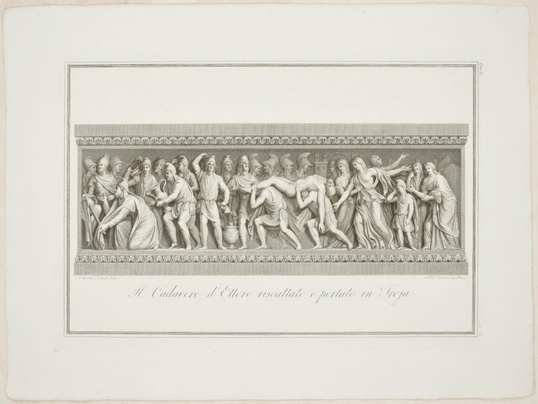 The Body of Hector Brought Back to Troy - Etching by F  Cecchini