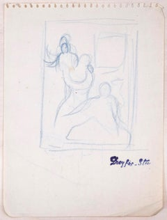 Sketched Figures - Original Charcoal Drawing by J. Dreyfus-Stern