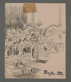 Sketch of a Still Life - Original Charcoal Drawing by J. Dreyfus-Stern