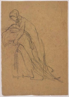 Sketch of Figures for a Portrait Original Charcoal Drawing by J. Dreyfus-Stern