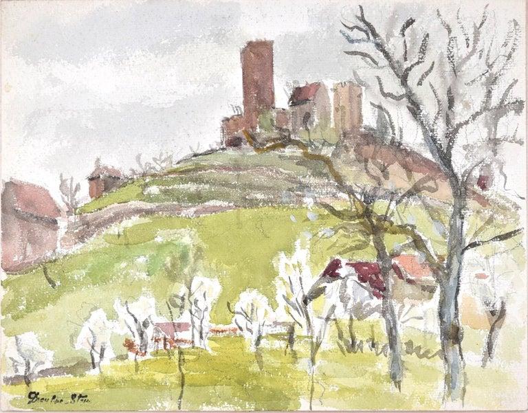 Jean Dreyfus-Stern Interior Art - Green Landscape  - Original Charcoal and Watercolor