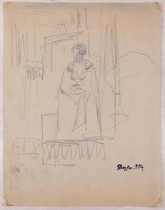 An Actor - Original Pencil Drawing by J. Dreyfus-Stern