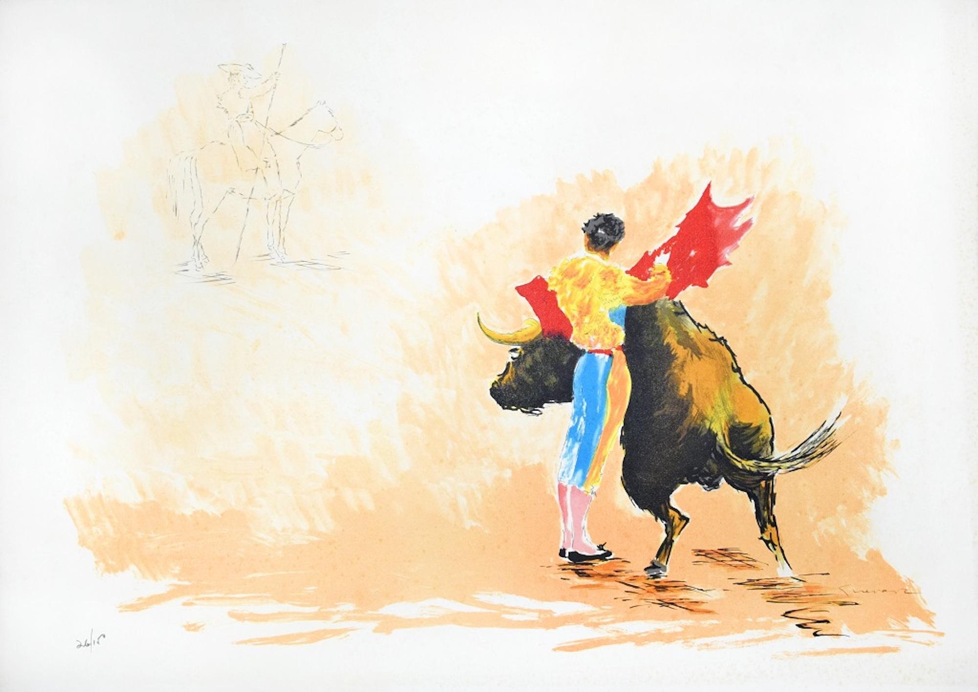Corrida - Original Lithograph by José Guevara - 1990s