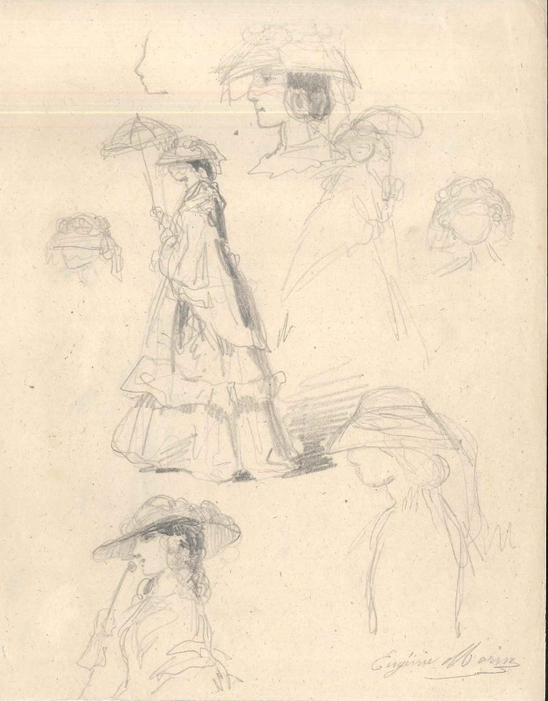 Fashionable Woman is a beautiful original pencil drawing on ivory-colored paper, composed by eight preparatory studies realized by the French artist Eugéne Morin (1833-1875).  Hand-signed in pencil on the lower right margin, and monogrammed on the