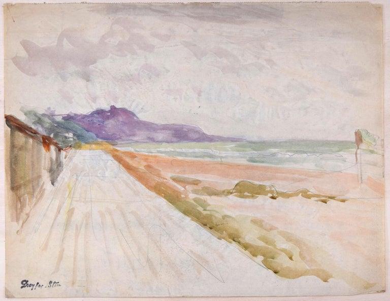 Jean Dreyfus-Stern Landscape Art - Landscape with Road - Pencil Drawing and Watercolor by J. Dreyfus-Stern