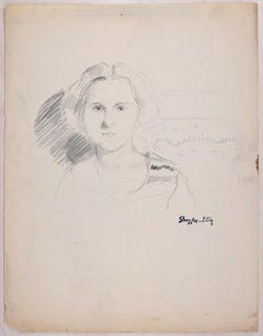 Portrait of a Woman - Original Pencil Drawing by J. Dreyfus-Stern