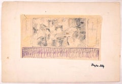 Sketch of a Café - Original Pencil and Pastel Drawing by J. Dreyfus-Stern