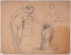 Sketches of Female Nudes - Original Pencil Drawing by J. Dreyfus-Stern