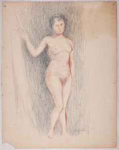 Sketches of a Nude - Original Pencil and Pastel Drawing by J. Dreyfus-Stern