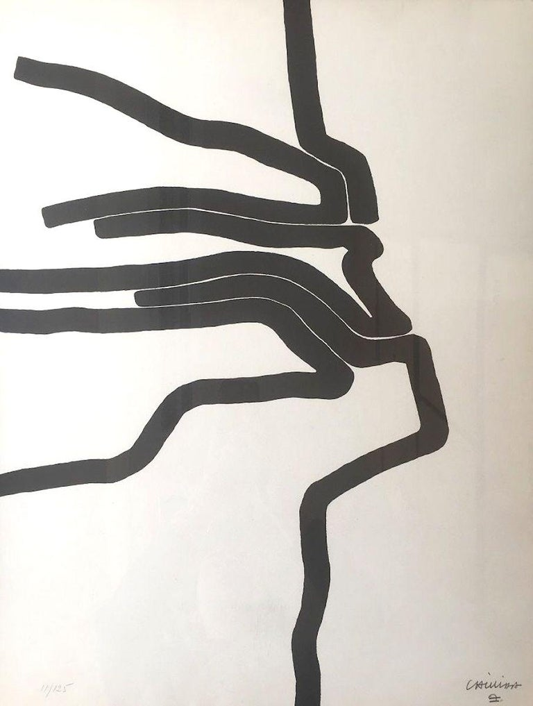 Affiche n°87 is a beautiful lithograph realized by Eduardo Chillida in 1964.   Hand-signed and numbered by the artist on the lower left in pencil. Edition 11/25.Editions Maeght, Paris.  This contemporary lithograph was realized by Chillida for the