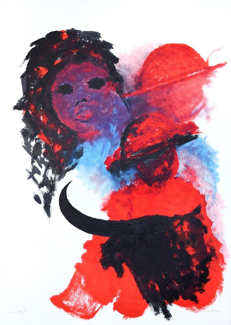 The Spanish Woman is a beautiful artwork realized by Josè Guevara in the 1990s.  Colored lithograph on paper. Edited by Fondazione Di Paolo.  The lithograph is hand-signed in pencil on the lower left. Numbered on the lower right. Edition