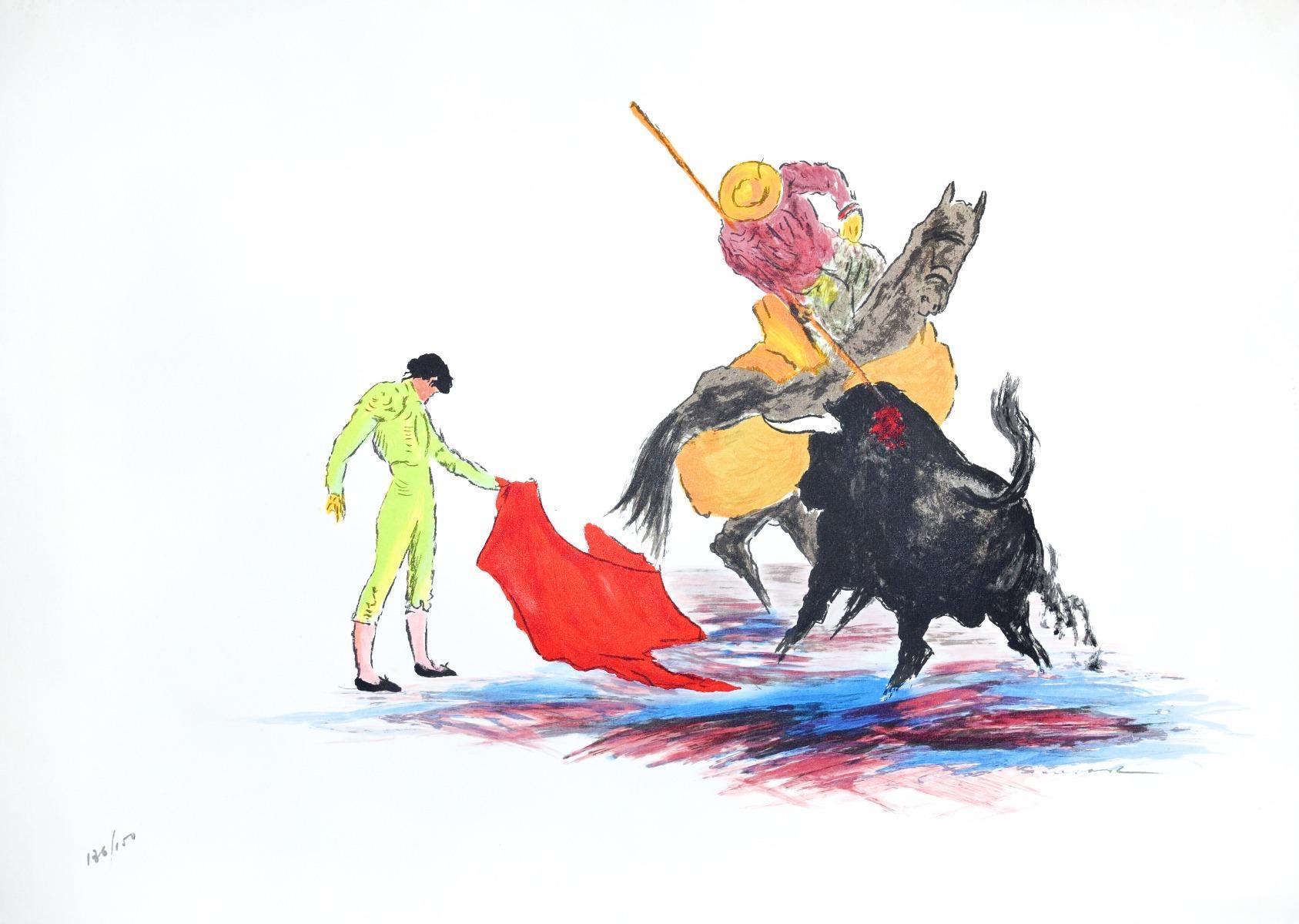 Bullfighter - Original Lithograph by José Guevara - 1990s