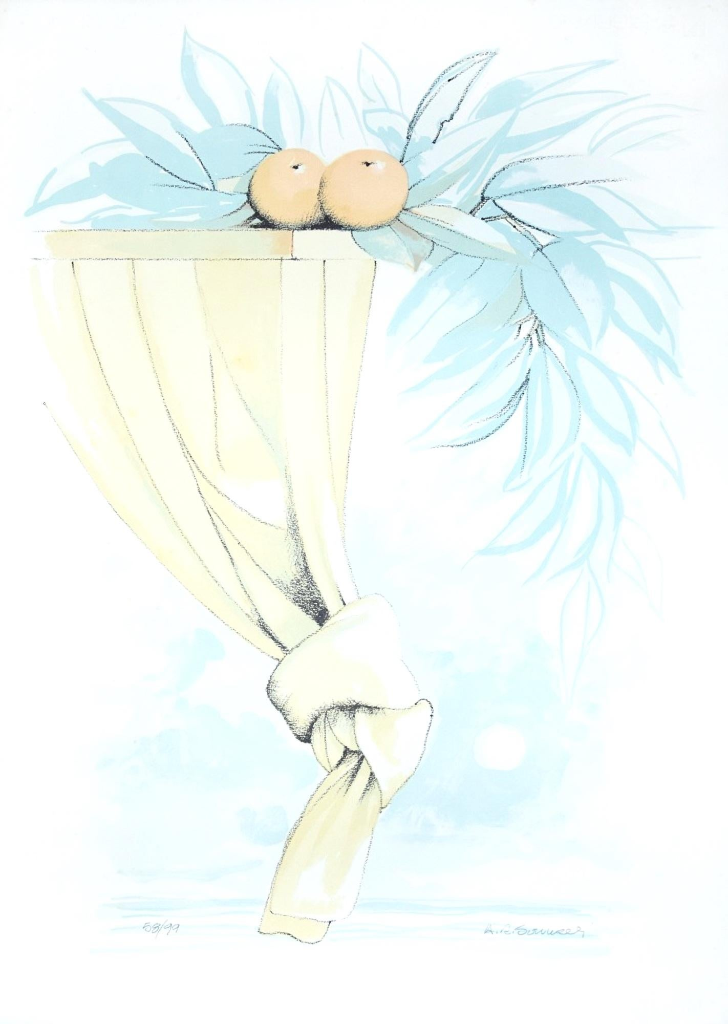 Summer Poetry - Original Lithograph by A. Russo Sarnelli - 1990s