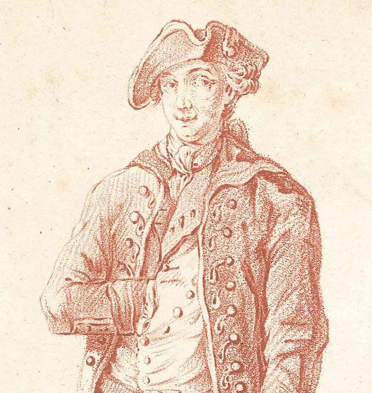 L'Ecuyer - Original Etching and Pastel by L-M Bonnet - Late 18th Century - Print by Louis-Marin Bonnet
