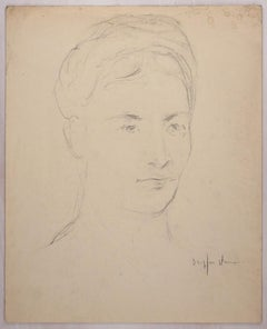 Portrait of Young Woman - Pencil and Pastel Drawing by J. Dreyfus-Stern