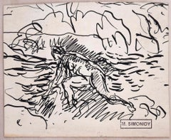 Bather Sketch - Original Ink Drawing by Michel Simonidy - 1910s