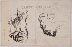 Une Petite Baigneuse - Original Ink Drawing by Michel Simonidy - 1910s