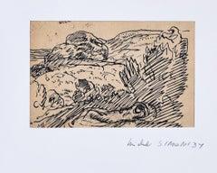 Stilized Landscape  - Original Ink Drawing by Michel Simonidy - 1910s