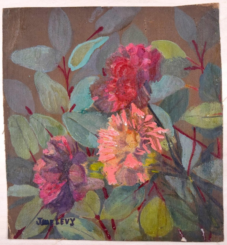 Flowers is an original artwork realized in the middle of the XX Century by Jane Levy.  Oil on tissue of canvas.   Hand-signed by Jane Levy on the lower left corner.   Mint conditions.   Colorful composition representing a bouquet of flowers