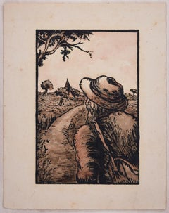 Man in the Field  - Original Woodcut and Watercolor by Lucie Navier - 1940s