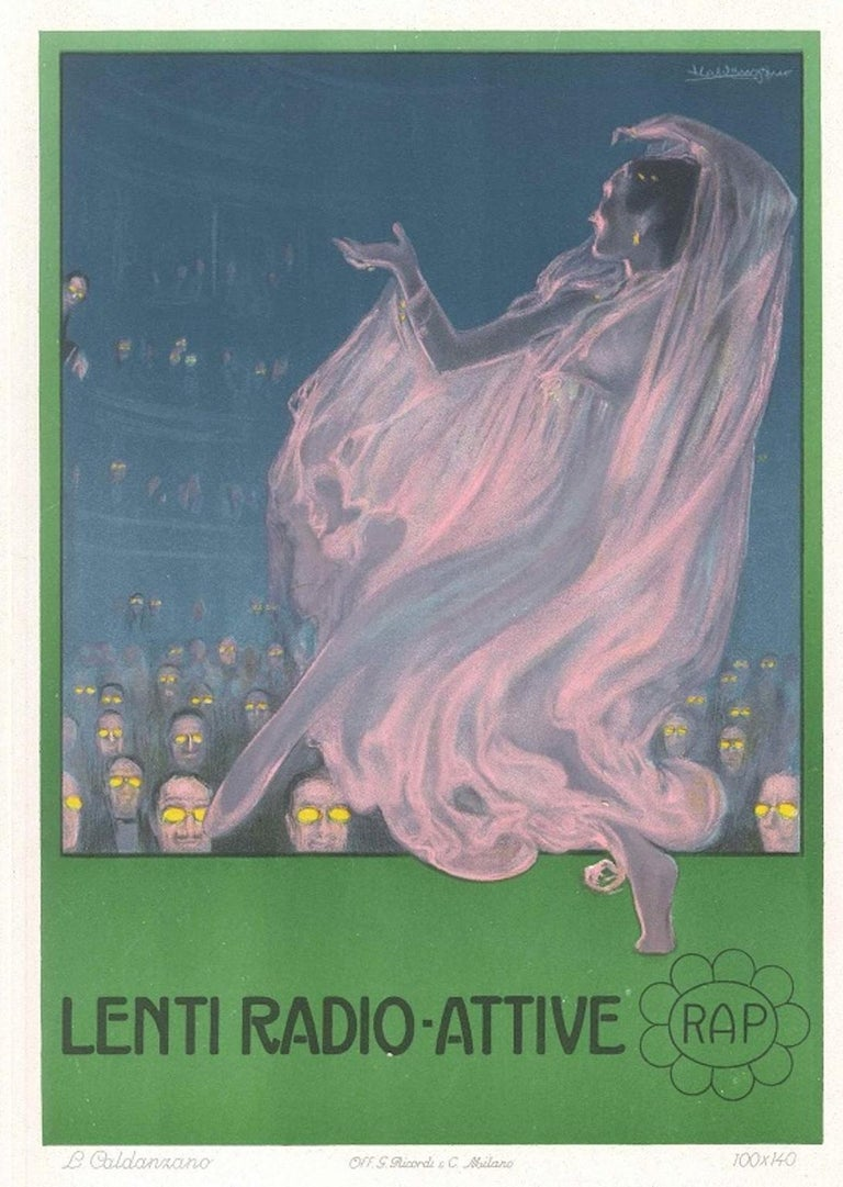 Luigi Caldanzano Figurative Print - Lenti Radio Attive - Original Advertising Lithograph by L. Caldanzano - 1912