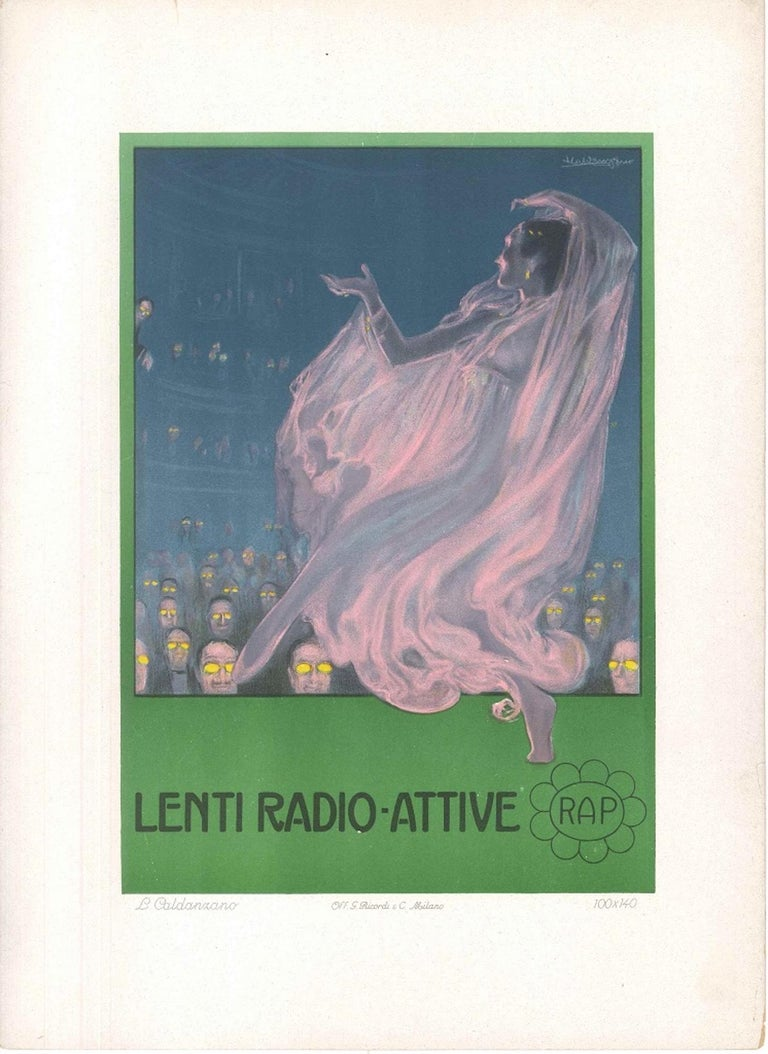 Lenti Radio Attive - Original Advertising Lithograph by L. Caldanzano - 1912 - Print by Luigi Caldanzano